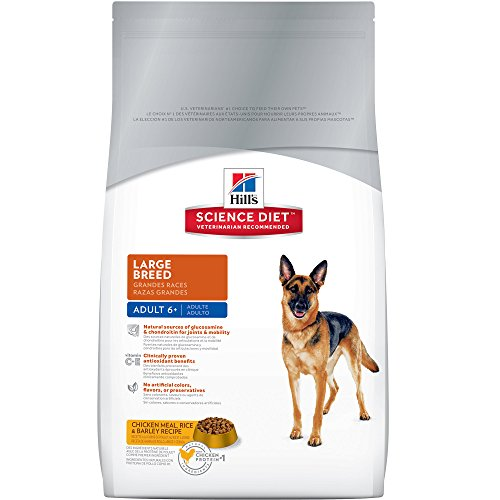 Hill's Science Diet Senior Dog Food, Adult 6+ Large Breed Chicken Meal Rice & Barley Recipe Dry Dog Food, 17.5 lb Bag