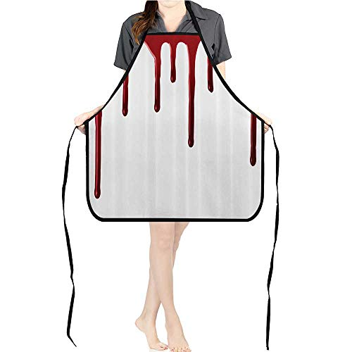Jiahong Pan Adult Apron Waitresses Apron Flowing Blood Horror Spooky Halloween Zombie Crime Scary Help me Themed Cooking Kitchen Aprons for Women -