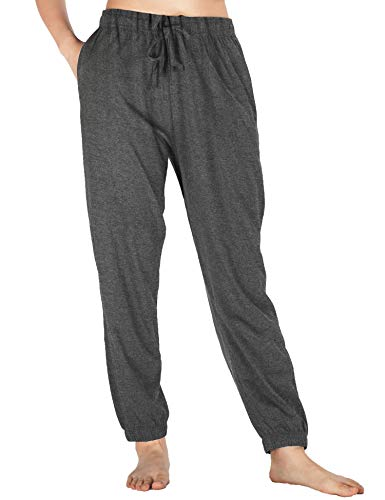 (WEWINK CUKOO Womens Pajama Pants Cotton Sleep Pants Stretch Knit Lounge Pants with Pockets (M=US 8-10, Granite Gray- Jogging Style))