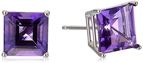 10K White Gold Princess cut Amethyst Stud Earrings, (7mm)