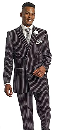 Men's Black White Pinstripe Double Breasted 2 Piece Suit M2701 EJ ...