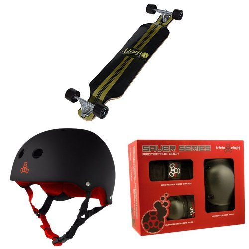 Atom Drop Deck Longboard (39 Inch) with Triple 8 Helmet and Pad Set