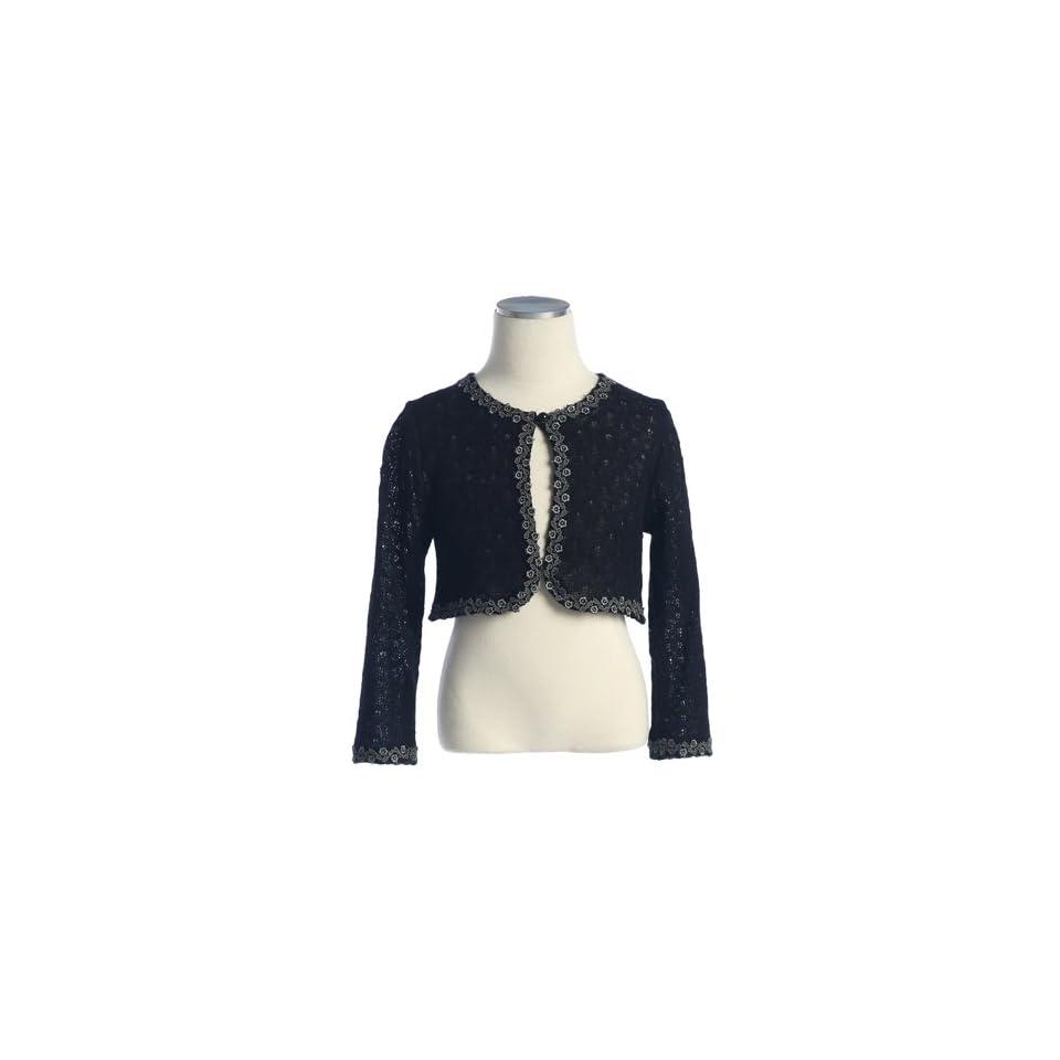 Little Girl Black Knit Lace Trim Long Sleeve Bolero Shrug Jacket 6M 12