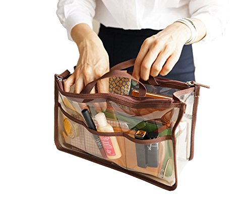 Youndcc Clear Tote Bag, Briefcase, Cosmetic Bag, Makeup Bag, Transparent, Waterproof, NFL Stadium Approved, Great for Work, Events, Makeup and Travel (Brown) ()