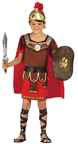 Boys Roman Centurion Greek Soldier Army Warrior Gladiator Historic Book Day Fancy Dress Costume Outfit (7-9 Years) Red]()