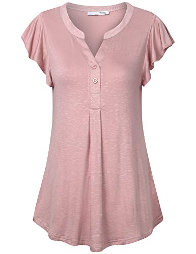 Messic Flowy Shirts for Women, Short Sleeve Pleated Tunic Tops Cuffed Tees Irregular Ruffle Sleeve V Neck Shirts with Buttons Dressy Comfort Summer Casual Work Tops Dark Pink L