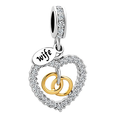 Ring Heart Charm - LovelyJewelry Heart Love Wife Rings Beads Charm for Bracelets