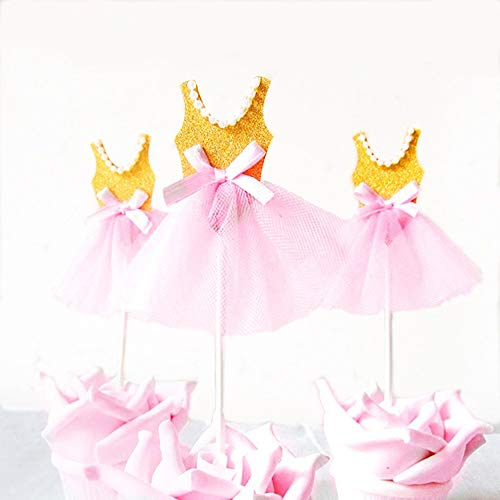 (12 Pcs Cute Glitter Tutu Cupcake Toppers Pink for Girl's Birthday Party Baby Girls 1st Birthday Princess Ballerina Baby Shower)