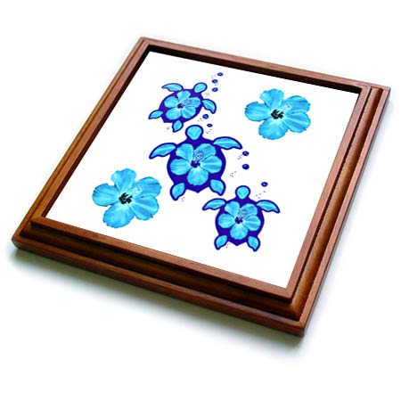 3dRose MacDonald Creative Studios - Hawaii - Ocean blue Hawaiian Honu sea turtles symbols and tropical flowers. - 8x8 Trivet with 6x6 ceramic tile (trv_299222_1) ()