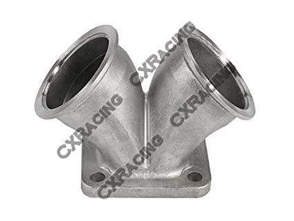 """CXRacing 2.5"""" Vband Dual Inlet to Divided T4 Turbo Elbow Adapter Flange Splits Longer Side"""