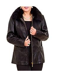 WSPLYSPJY Women's PU Leather Short Coats Motocycle Fur Collar Sports Jackets