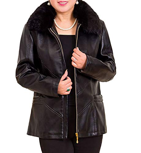 Keaac Men's Women's Faux Leather Fur Collar Hot Pants Coat PU Leather Sports Motocycle Coat Black XL (Womens Wilsons Leather Pants)