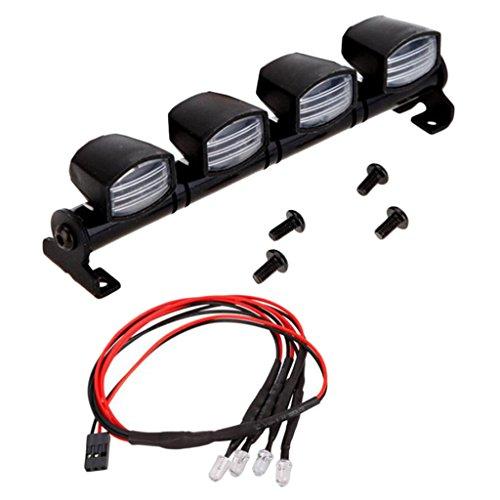MagiDeal 2-Rouge + 2-Blanc LED Lampe de Toit Décoration pour 1/10 RC Crawler Voiture RC4WD Axial D90 SCX10