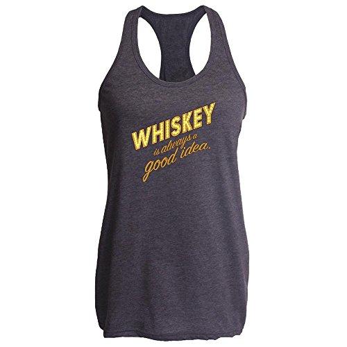 Whiskey is Always A Good Idea Heather Charcoal S Womens Tank Top (Single Cask Malt)