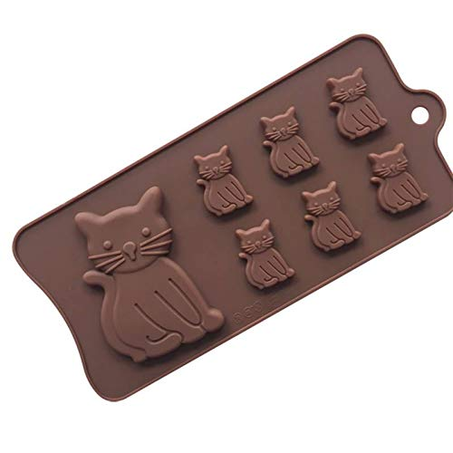 Golden Store129 Cat Silicone Mold 3D Cake Decorating Tools Christmas Tree/Puppy Footprint/Cat/Fish Shaped Silicone Mold Decoration Fondant Halloween Cookies Mold -