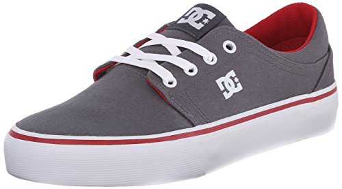 DC Women's Trase Textile Lace Up Skate Shoe, Grey/Red, 7 M ()