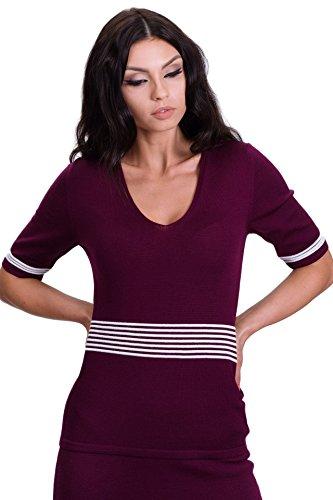 KNITTONS Women's 100% Italian Merino Wool Striped Short Sleeve Sweater Blouse Top (Small, Burgundy) - 100% Italian Merino Wool