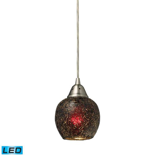 Elk 10208/1WN-LED Fission 1-LED Light Pendant with Wine Glass Shade, 5 by 7-Inch, Satin Nickel Finish
