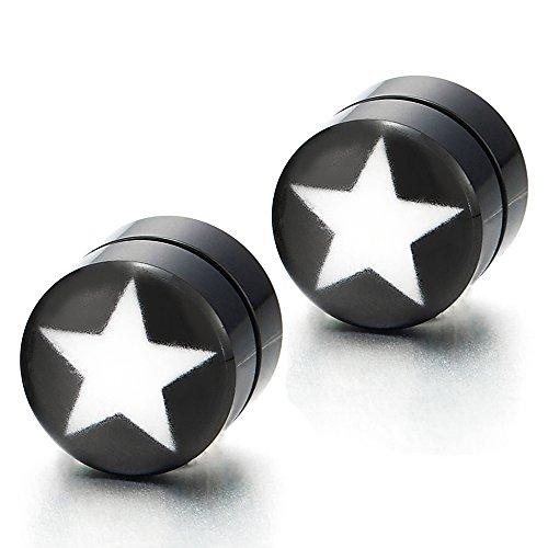 ack Circle Star Stud Earrings for Men Women, Non-piercing Clip on Fake Ear Plugs ()