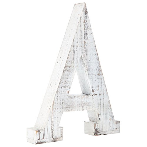 Distressed White Alphabet Wall Décor/Free Standing Monogram Letter A by Generic (Image #3)
