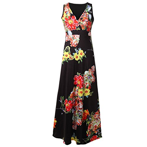 Verano Largos 2 Corto Mujer Casual de Mangas Vestidos Modern cóctel 2018 Elegante EUZeo Floral Fiesta Vestido Vestidos Vestidos Mujer Vestidos Playa sin Negro Traje Mini v5wqUxq