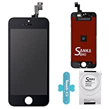 SANKA LCD Display Touch Screen Digitizer Frame Assembly Full Set Screen Replacement for iPhone 5S-Black