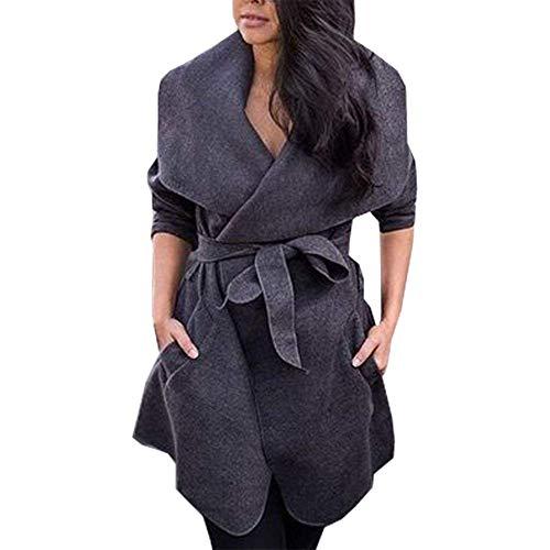 BoBoLily Manteau Femme lgant Mode Automne Outwear avec Ceinture Spcial Style Manches Longues Revers Couleur Unie Vtements D'Extrieur Confortable Jacken Poches Latrales Dunkelgrau