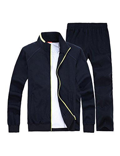 Gameyly Men's Simple Style Activewear Jogging Suits Running Tracksuit L Navy - Mens Running Suit