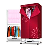 YXGH@ Portable double-layer folding cloth dryer 1200W electric drying rack large capacity fast drying multi-function wardrobe with heater, free timing and quick installation Dryer
