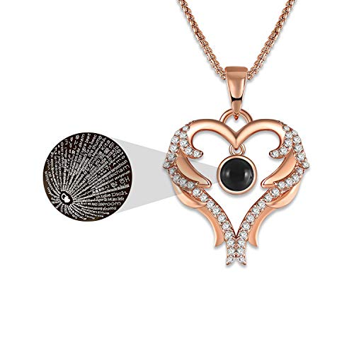 GEORGE · SMITH Rose Gold Love Heart Pendant Necklace 100 Languages I Love You Necklace Love Memory Jewelry Gifts for Women