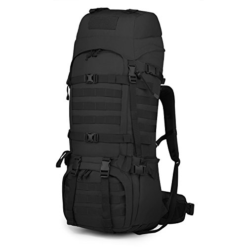 Mardingtop 65L Internal Frame Backpack Tactical Military Molle Rucksack for Camping Hiking Traveling with Rain Cover, YKK Zipper YKK Buckle Black]()
