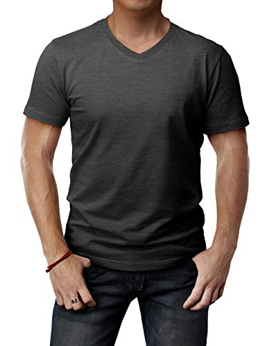 H2H Mens Fashionable V Neck Short Sleeve T-Shirts for Daily uses Charcoal US L/Asia XL (CMTTS0197)