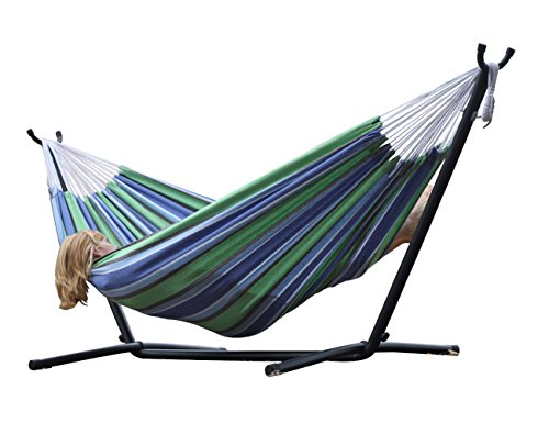 2PO Brazilian Style Double 100% Cotton Hammock with 9 Feet Space-Saving Steel Stand and Bonus Free Carrying Case, Oasis