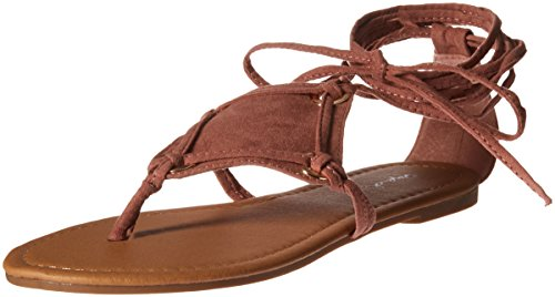 Qupid Women's Thong lace up Sandal Flat, Mauve, 8.5 M US