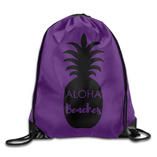 Drawstring Backpack Gym Bag Travel Backpack Black Pineapple Aloha Beach Style Best Gym Backpack for Women Men Adults 16.9x14.2