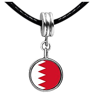 Chicforest Silver Plated Bahrain flag Photo Light Rose Crystal October Birthstone Flower dangle Charm Beads Fit Pandora Chamilia Biagi Charm Bracelet