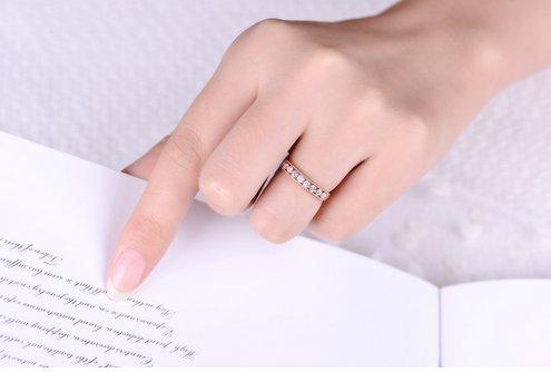 Gowe 0,34CT véritable diamant Mariage Femme Bague en or rose 18K (Au750)