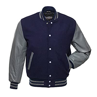C139 Navy Blue Wool Grey Leather Varsity Jacket Letterman Jacket