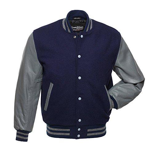 C139-L Navy Blue Wool Grey Leather Varsity Jacket Letterman (Navy Letterman Wool Jacket)