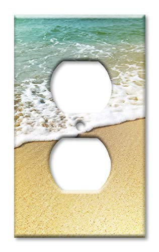 (Art Plates Duplex Outlet Cover Wall Plate - Foamy Waves on the Beach )