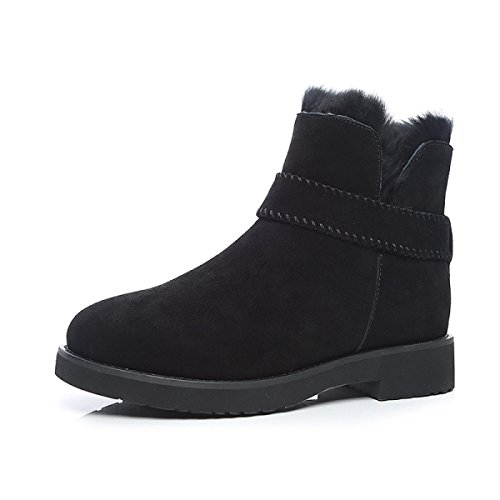Cotone Lana Invernali Stivali Da Pelle Velluto Più Neve Calda Da Black In Vera In GSHGA Piatti Stivali Donna In Tg7x88