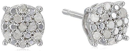 Diamond Earrings Cluster Silver (Sterling Silver Diamond Cluster Stud Earrings)