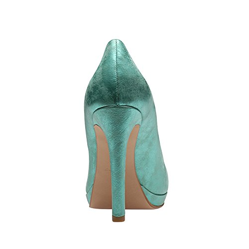 Shoes Zapatos de Evita mujer Turquesa para de Piel vestir Turquesa HqRRwpB