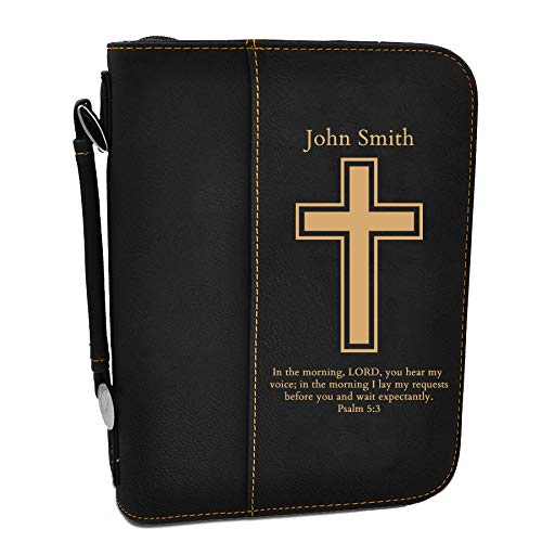 Custom Book/Bible Cover | Personalized Laser Engraved | Black/Gold with Cross | 7 1/2