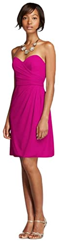 Short Strapless Mesh Bridesmaid Dress with Sweetheart Neck Style W10953
