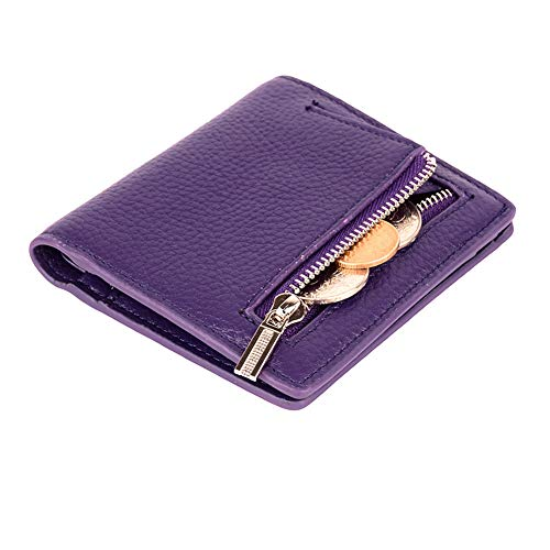 Women's Leather RFID Small Compact Bifold Pocket Wallet Ladies Mini Purse with id Window (Purple) ()