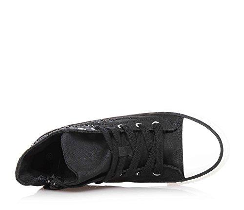 TWIN-SET - Sneaker nera, nero, scarpa, stringata in tessuto, alla moda, firmata, Donna, ragazza e ragazze, Bambina