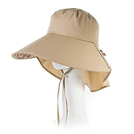 b138321a7cd19 Siggi Womens Wide Brim Summer Sun Flap Cap Hat Neck Cover Cord Cotton UPF  50+ Khaki at Amazon Women s Clothing store
