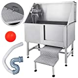 Mophorn 50 Inch Professional Dog Grooming Tub Stainless Steel Pet Bathing Tub Large Dog Wash Tub with Faucet and Walk-in Ramp & Accessories Dog Washing Station Pet Bath Tub