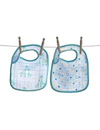 Soft 2 Pack 100% Soft Muslin Cotton Snap Bibs, Boy Giraffe